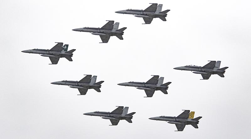 A RAAF 77 Squadron flypast to farewell the 'classic' Hornet. Photo by Daniel McIntosh.