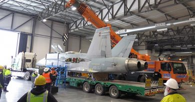 F/A-18A Hornet A21-022 being offloaded at the Australian War Memorial's Treloar Technology Centre, Canberra. Photo by Jamie Crocker.