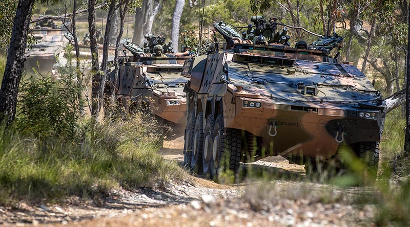 Australian Army Boxer combat reconnaissance vehicles will be connected by the Army's new C$ EDGE systems. Photo by Trooper Jonathan Goedhart.