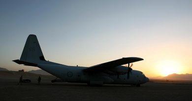 C-130 Hercules at Tarin Kowt, October 2006. Photo by Brian Hartigan.