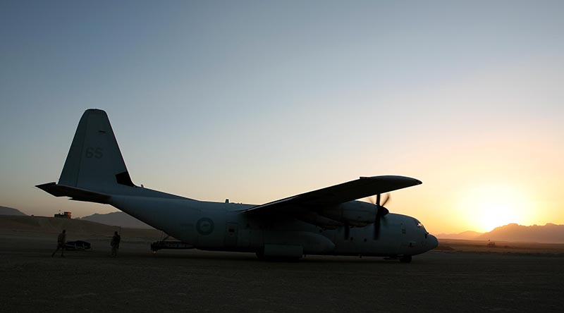 C-130 Hercules at Tarin Kowt, October 2006. Photo by Brian Hartigan.