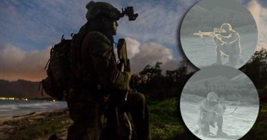 Australian Army officer Lieutenant Jackson Healy, 2RAR, on Exercise RIMPAC 2018. INSETS: Top; a fused image in 'outline' mode and bottom; a regular night-vision image. The minister also supplied the main image to illustrate this story, but we don't know if the device Lt Healy is wearing is the device in question. Main photo by Corporal Kyle Genner.