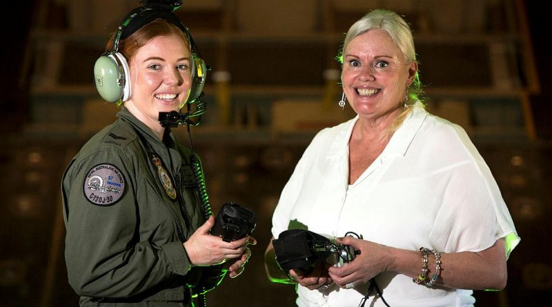 One of the Air Force's newest C-130J Hercules aircraft loadmasters, Corporal Jordyn Luck, is joined by the first-ever female loadmaster, Mrs Katrina Salvesen on board a 130J Hercules at RAAF Base Richmond. Photo by Corporal David Said.
