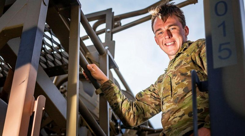 Private Zed Barrett, of the 3rd Combat Service Support Battalion, during his deployment on Operation Bushfire Assist. Photo by Private Madhur Chitnis.