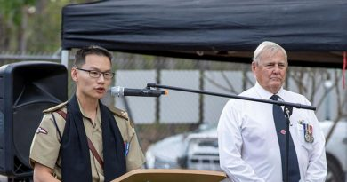 Army Chaplain Major Ricky Su speaking at last year's Vietnam Veterans Day service at Reg Hillier House in Bees Creek, Northern Territory. Photo by Corporal Rodrigo Villablanca.
