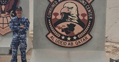 Leading Aircraftman Lawson McCurran at the Combined Air Operations Center in Qatar.