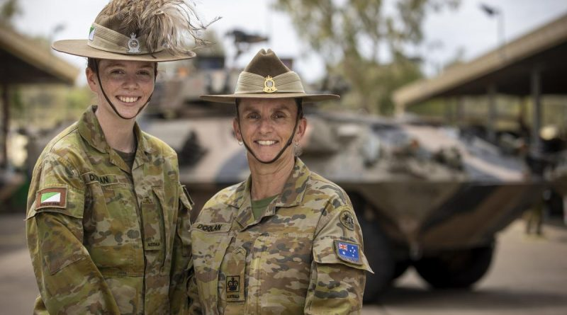 Trooper Aimee Doolan, from the 2nd/14th Light Horse Regiment (Queensland Mounted Infantry), left, and her mother, Warrant Officer Class 2 Julie Doolan, from the 7th Combat Brigade, at Gallipoli Barracks. Photo by Corporal Nicole Dorsett