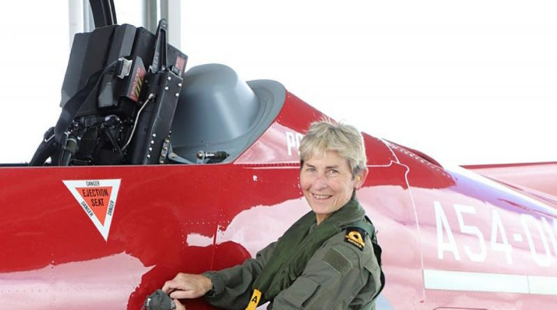 Air Force Warrant Officer Disciplinary Jen Riches, of No. 25 Squadron, was treated to a farewell flight in a PC-21 aircraft on her final day in the Air Force.