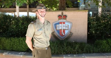 Officer Cadet James Boidin at the Australian Defence Force Academy.