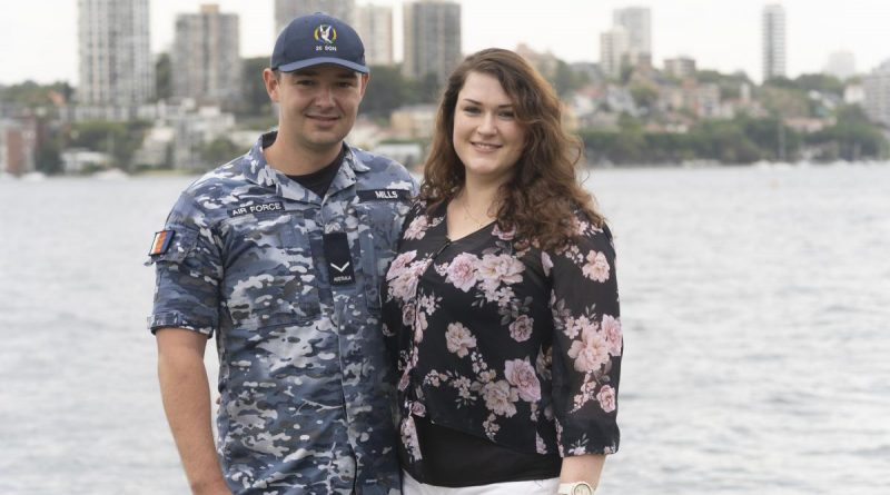 Leading Aircraftman Ryan Mills with his wife Ellen at Fleet Base East, Sydney.