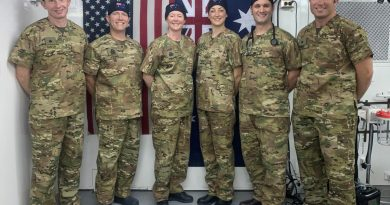 The ADF medical team embedded in Iraq's Baghdad Diplomatic Support Centre, Afghanistan, Major Paul Smith, left, Captain Ian Young Lieutenant Commander Anna Kane, Captain Rachel Gillies, Major Adam Mahoney and Major Kyle Bender.