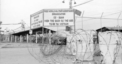 Entrance to the Australian Force Vietnam HQ in Saigon, 1968. Photo by Sergeant Kevin Thurgar. File number THU/68/0146/VN