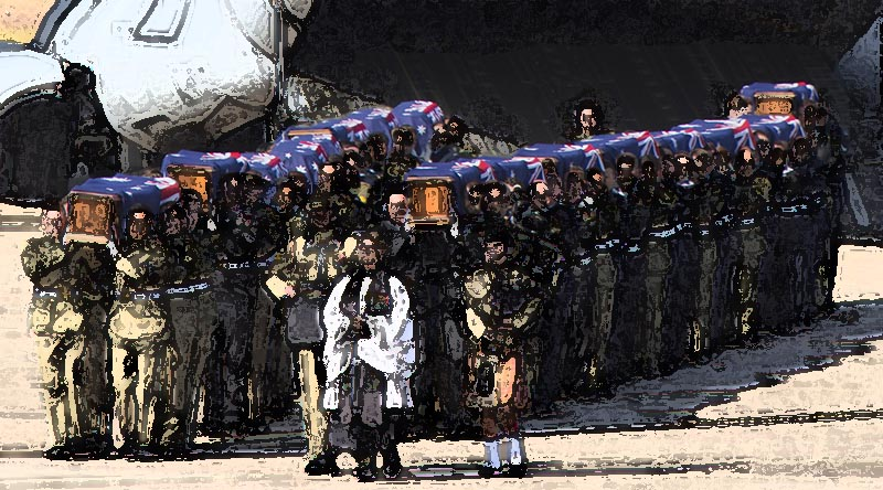 Australian Defence Force personnel from Australia's Federation Guard carry the coffins of the 33 Australian service personnel and dependants repatriated from SE Asia from a Royal Australian Air Force C-17A Globemaster at RAAF Base Richmond on 2 June 2016. Original photo by Corporal David Gibbs, digitally stylised by CONTACT.