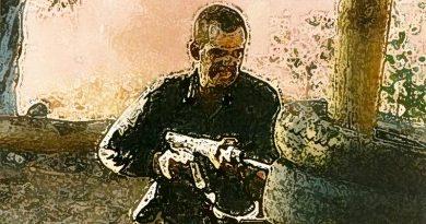 CONTACT Editor Brian Hartigan (not a Hasho) on the bayonet assault course with SLR, 1990.