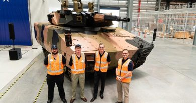 Craig Ramsay and Nick Stokesfrom Defcon Technologies, with Lee Davis, Land 400 Phase 3 and Gary Stewart from Rheinmetall at a Team Lynx event. Photo supplied.