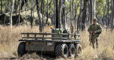 Corporal Aaron Le Jeune, of the 9th Force Support Battalion, trials an unmanned ground vehicle during Exercise Talisman Sabre 2019. Photo by Sergeant Jake Sims