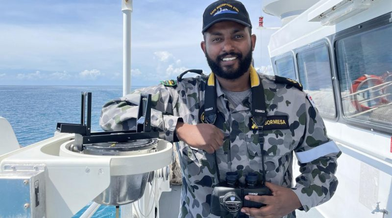 Leading Seaman Boatswain's Mate Benyam Gormiesa navigated ADV Cape Inscription through the Great Barrier Reef.