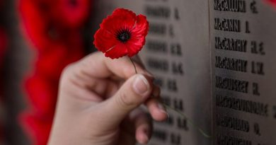 Placing a poppy on the Roll of Honour at the Australian War Memorial. Photo by Corporal Nunu Campos.