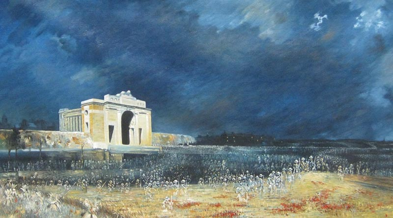 Menin Gate at midnight – oil on canvas by Will Longstaff (1927). AWM ART09807