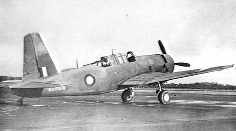 A Vultee Vengeance MkIV general-purpose dive bomber at RAAF Base Williamtown, NSW, circa 1943. AWMP00448.191