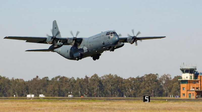 An Air Force C-130J Hercules from No. 37 Squadron takes off from RAAF Base Amberley. Photo by Corporal Jesse Kane.