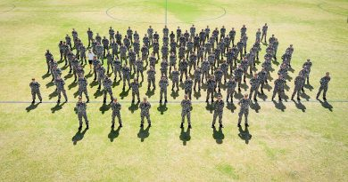 NUSHIP Stalwart's crew form for the first time on the sports field of HMAS Stirling, Western Australia. Photo by Leading Seaman Richard Cordell.