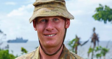 Corporal Ben Maddaford on Galoa Island during Operation Fiji Assist. Photo by Corporal Dustin Anderson.