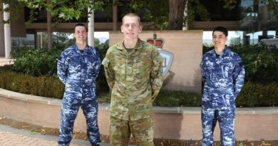 Gold Coast locals Max Brown, left, Ethan Blackstock and Ken Yamamoto are new appointees to the Australian Defence Force Academy.
