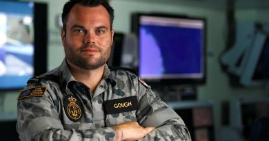 Former apprentice carpenter Leading Seaman Leigh Gough deployed in HMAS Adelaide on Operation Fiji Assist 20-21. Photo byDustin Anderson.