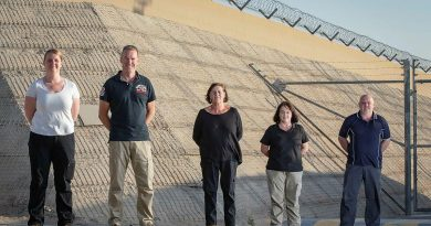 Ros Radburn, left, Glen Bouwman, Carmel Ryan, Jacqui Stuart and Luke Collison on Operation Accordion in the Middle East region. Photo by Sergeant Ben Dempster.