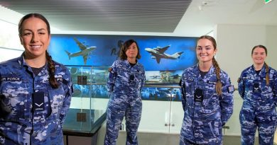 Personnel from No. 36 Squadron's orderly room, from left, Leading Aircraftwomen Jarla Pyle, Pinar Girca, Abbey Patterson and Corporal Cass Williamson at RAAF Base Amberley. Photo by Corporal Brett Sherriff.