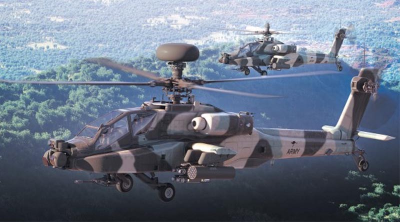 An artist's rendering of the AH-64E Guardian in Australian camouflage colours. Photo: Courtesy of Boeing via ARMY News.
