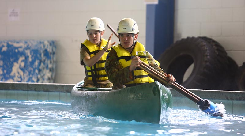 Australian Army Cadets participate in water-based activities during the Chief of Army's Team Challenge at Puckapunyal. Photo by Sergeant Brian Hartigan.