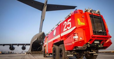 The final Rosenbauer Panther Crash Tender is loaded onto a Royal Australian Air Force C-17A Globemaster III aircraft. Photo by Sergeant Ben Dempster.