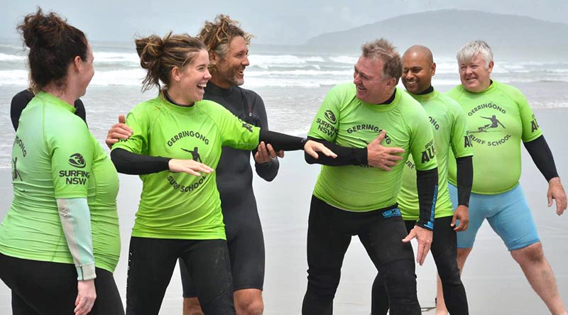 Participants in the first Veterans Surfing Program, which was launched at Gerroa, NSW, on 10 February 2021. Story and photo courtesyRobert Crawford, South Coast Register.