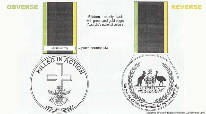 A proposed design for an Australian Killed in Action medal. Submitted by Leslie Edgar Anderson.