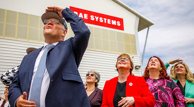 Prime Minister Scott Morrison, Minister for Defence Linda Reynolds and Minister for Defence Industry Melissa Price watch an F-35A handling display during the official opening of BAESA maintenance depot at Newcastle Airport. Photo by Corporal Craig Barrett.