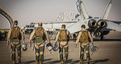 F/A-18F Super Hornet aircrew walk out for the final mission on Operation Okra at the main air operating base in the Middle East Region. Photo by Corporal Brenton Kwaterski, stylised by CONTACT.