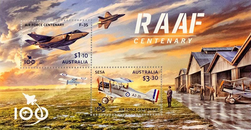 The stamps issued by Australia Post to commemorate the Centenary of the Royal Australian Air Force.