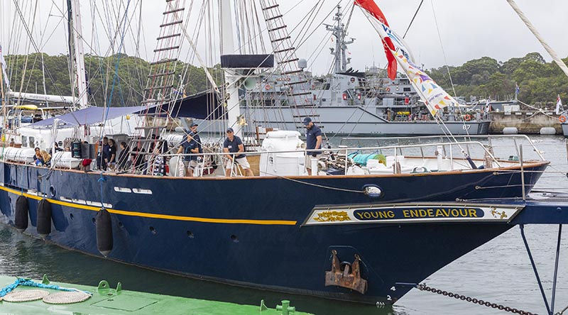 Sail Training Ship Young Endeavour departs HMAS Waterhen, Sydney – resuming her training-voyage program earlier than expected. Photo by Able Seaman Benjamin Ricketts.