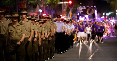 ADF participants in the Sydney Gay and Lesbian Mardi Gras Parade in February 2020. Photo by Megan Popelier.