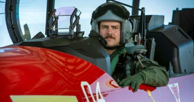 Pilot Officer John Lewin in the cockpit of a PC-21 training aircraft at RAAF Base Pearce. Photo by Leading Seaman Ernesto Sanchez.