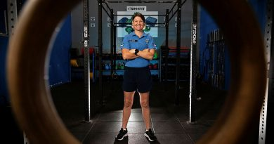 No. 17 Squadron Physical Training Instructor, Corporal Natasha Wilson in the RAAF Base Tindal gymnasium.