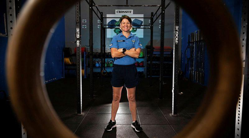 No. 17 Squadron Physical Training Instructor, Corporal Natasha Wilson in the RAAF Base Tindal gymnasium.