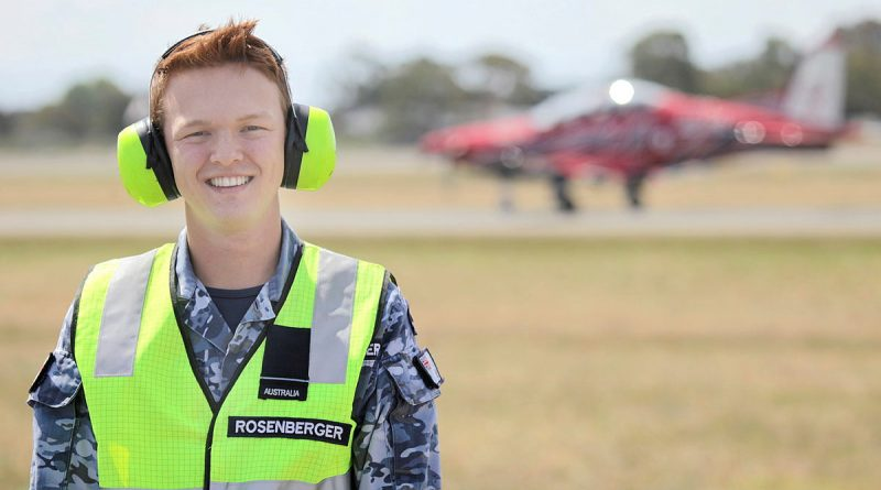 Flying Officer Ryan Rosenberger, Base Airfield Engineering Officer (BAEO), No. 30 Squadron, RAAF Base East Sale, Victoria. Photo by POIS Rick Prideaux.