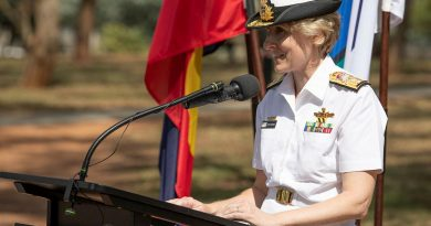 Head of Navy Engineering Rear Admiral Kath Richards addresses members of the Navy Engineering branch at the handover of command ceremony held at Campbell Park Offices in Canberra. Photo by Petty Officer Bradley Darvill.