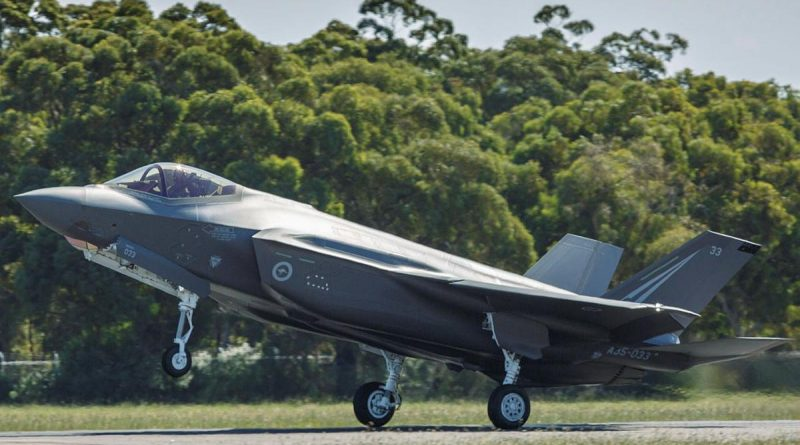 F-35A Lightning II aircraft A35-033 touches down at RAAF Base Williamtown after transiting from the United States. Photo by Sergeant David Gibbs.