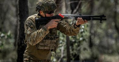 Corporal Shaun Abdilla, from the 6th Battalion, Royal Australian Regiment, fires a Remington 870 shotgun during a live-fire qualification shoot at the Greenbank Military Training Area, Brisbane. Photo by Private Jacob Hilton.