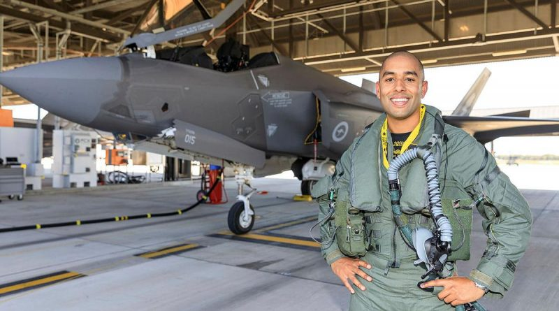 Pilot Officer Jaisal Pal is all smiles after completing his first flight in an F-35A Lightning II during the operational conversion course at RAAF Base Williamtown. Photo by Sergeant David Gibbs.