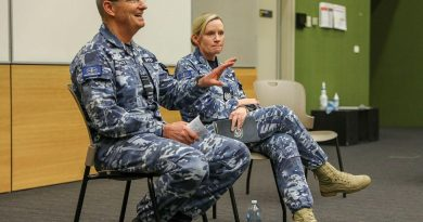 Chief of Air Force Air Marshal Mel Hupfeld and Warrant Officer Air Force Fiona Grasby during the visit to RAAF Base Edinburgh. Photo by Corporal Brenton Kwaterski.
